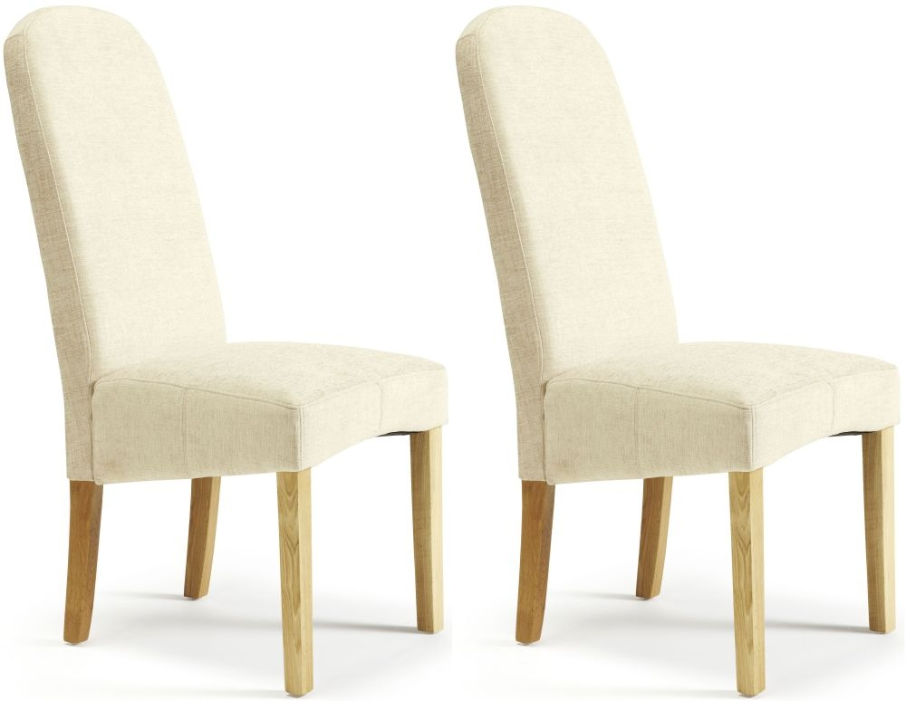 Serene Marlow Pearl Fabric Dining Chair (Pair)
