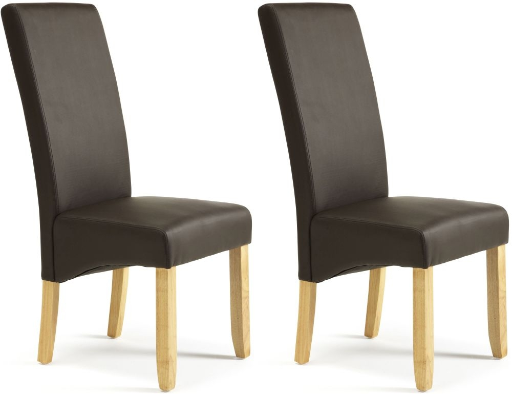 Serene Merton Brown Faux Leather Dining Chair with Oak Legs (Pair)