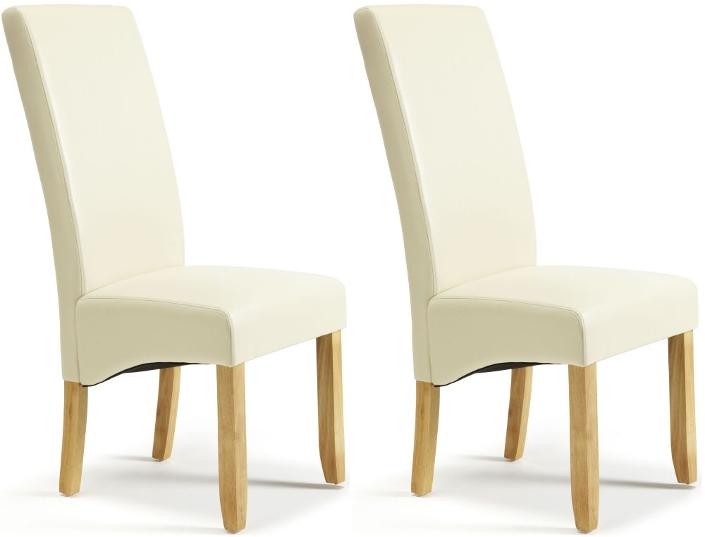 Serene Merton Cream Faux Leather Dining Chair with Oak Legs (Pair)