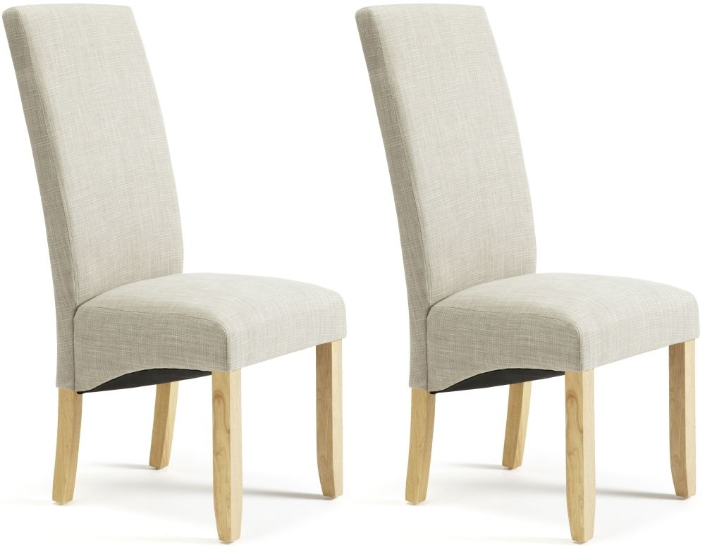 Serene Merton Linen Fabric Dining Chair with Oak Legs (Pair)