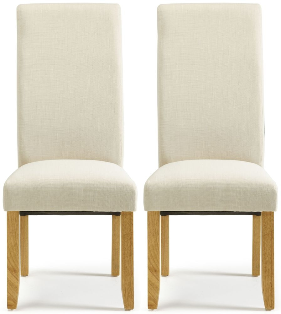 Serene Merton Putty Fabric Dining Chair with Oak Legs (Pair)