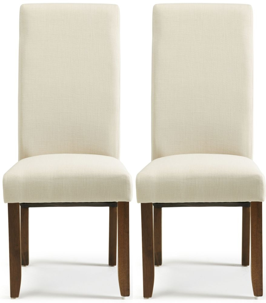 Serene Merton Putty Fabric Dining Chair with Walnut Legs (Pair)