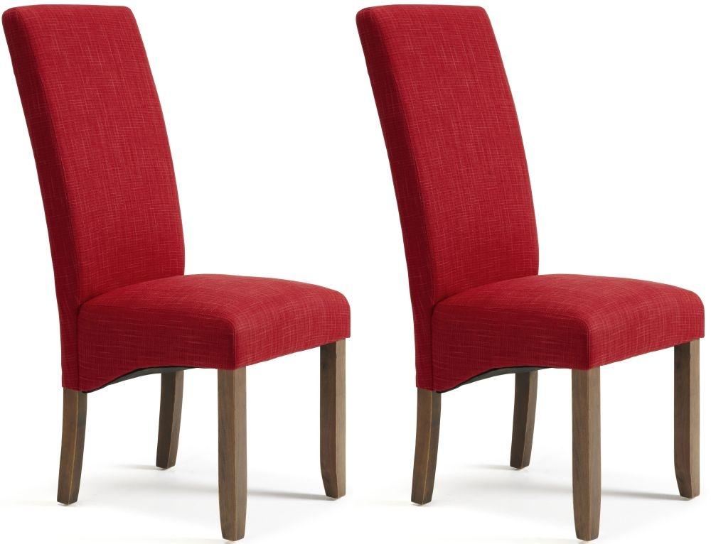 Serene Merton Scarlet Fabric Dining Chair with Walnut Legs (Pair)