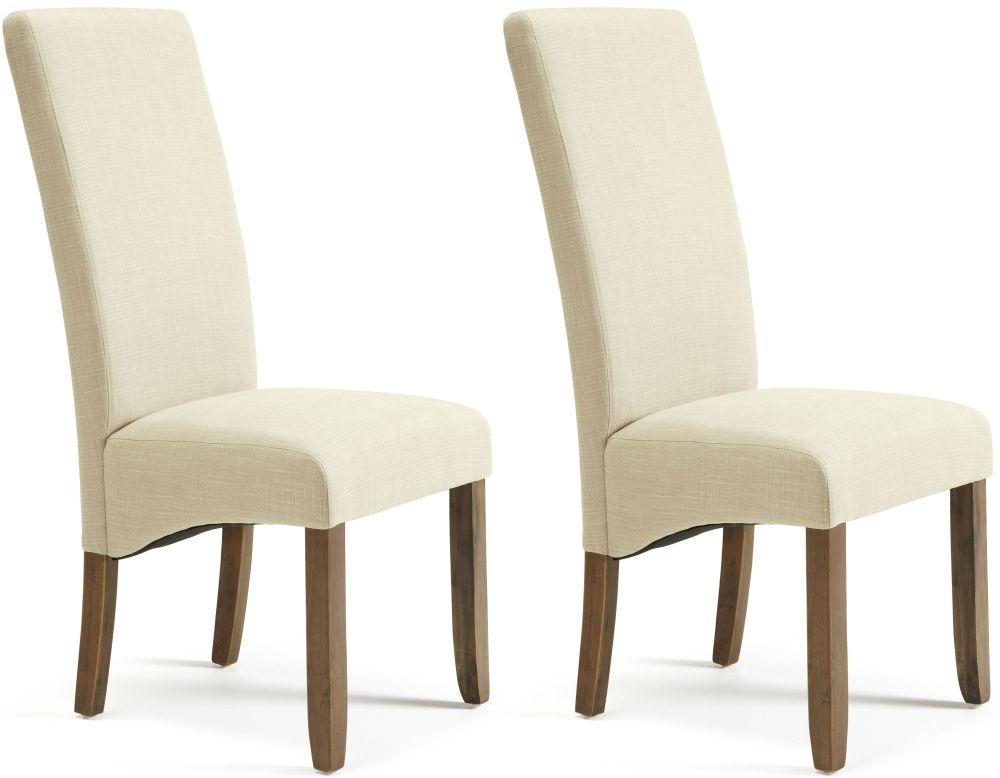 Serene Merton Stone Fabric Dining Chair with Walnut Legs (Pair)