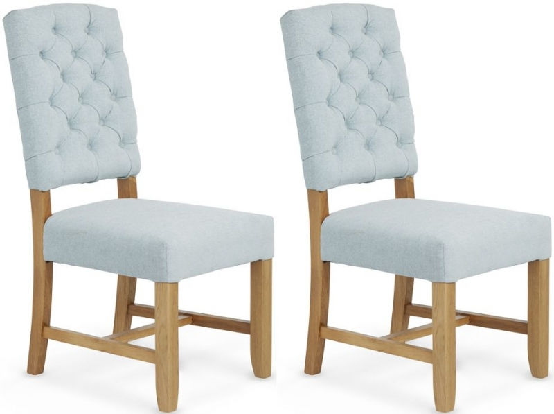 Serene Belmont Duck Egg Fabric Dining Chair (Pair)