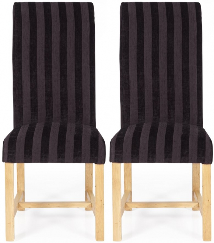 Serene Greenwich Aubergine Stripe Fabric Dining Chair with Oak Legs (Pair)