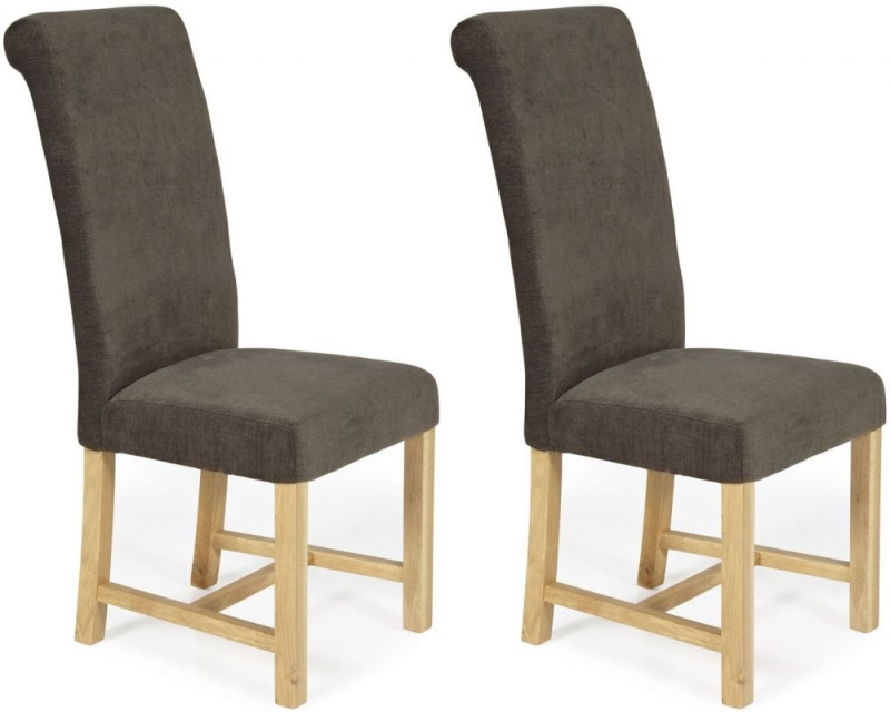 Serene Greenwich Brown Fabric Dining Chair with Oak Legs (Pair)