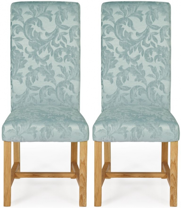 Serene Greenwich Duck Egg Floral Fabric Dining Chair with Oak Legs (Pair)