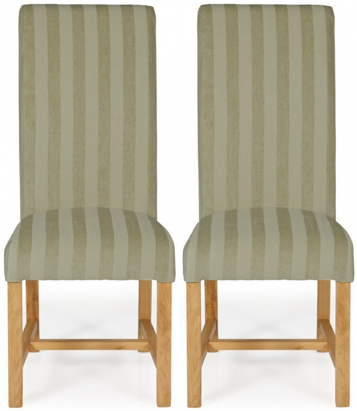 Serene Greenwich Sage Stripe Fabric Dining Chair with Oak Legs (Pair)