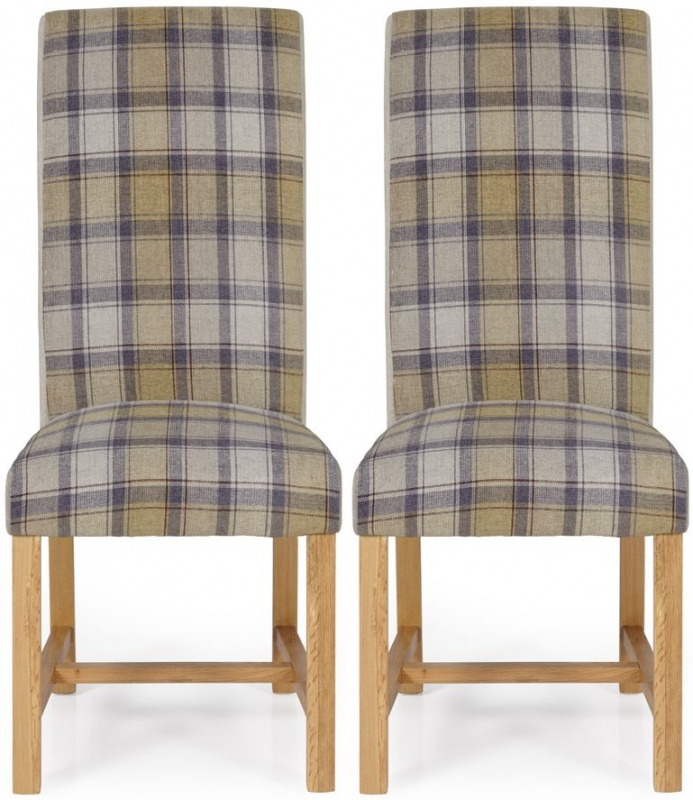 Serene Greenwich Stone Tartan Fabric Dining Chair with Oak Legs (Pair)