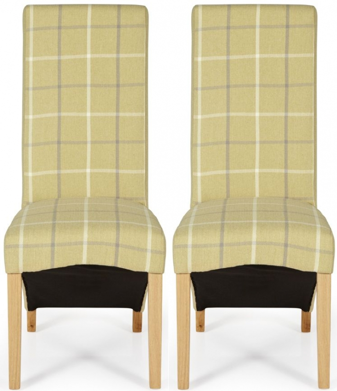 Serene Hammersmith Mustard Tartan Fabric Dining Chair with Oak Legs (Pair)
