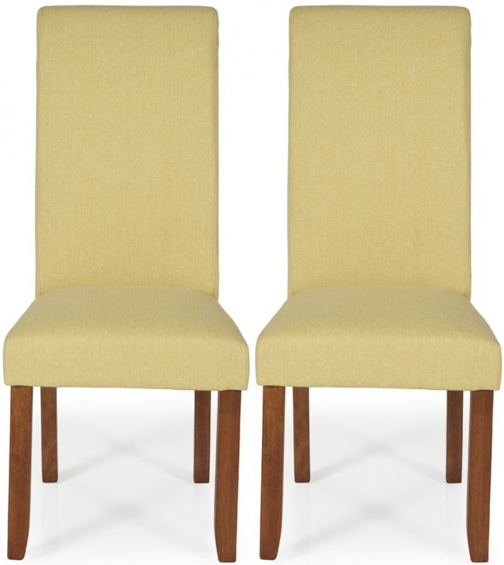 Serene Kingston Mustard Plain Fabric Dining Chair with Walnut Legs (Pair)