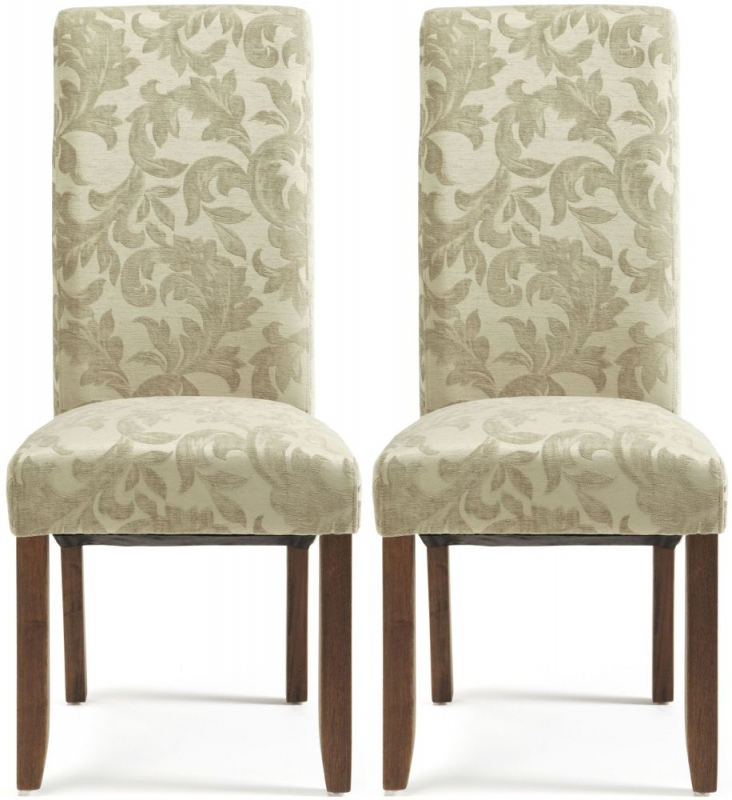 Serene Kingston Sage Floral Fabric Dining Chair with Walnut Legs (Pair)