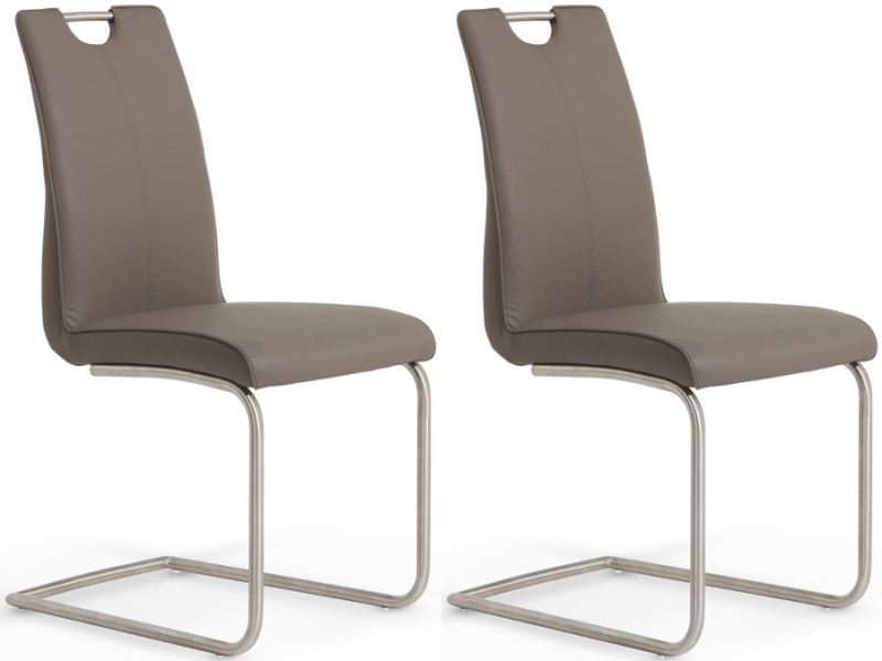 Serene Malaga Brown Faux Leather Dining Chair (Pair)