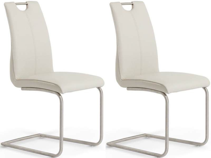 Serene Malaga Taupe Faux Leather Dining Chair (Pair)