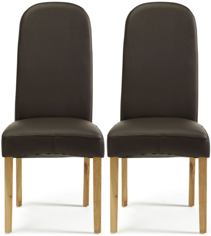 Serene Marlow Brown Faux Leather Dining Chair with Oak Legs (Pair)