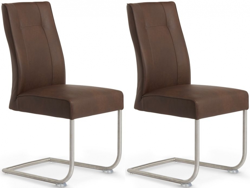 Serene Valencia Chocolate Faux Leather Dining Chair (Pair)
