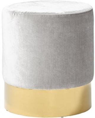 Serene Elle Grey and Gold Velvet Fabric Stool