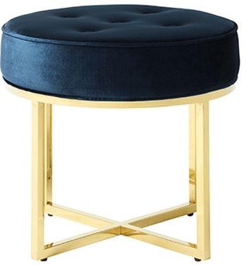 Serene Lena Blue and Gold Velvet Fabric Stool