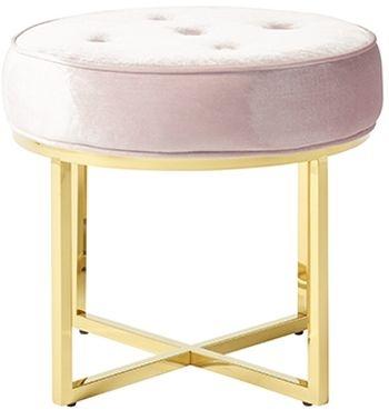 Serene Lena Pink and Gold Velvet Fabric Stool