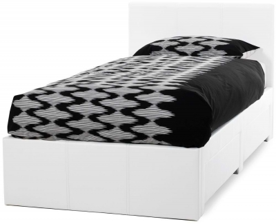 Serene Latino White Faux Leather 3ft Storage Bed