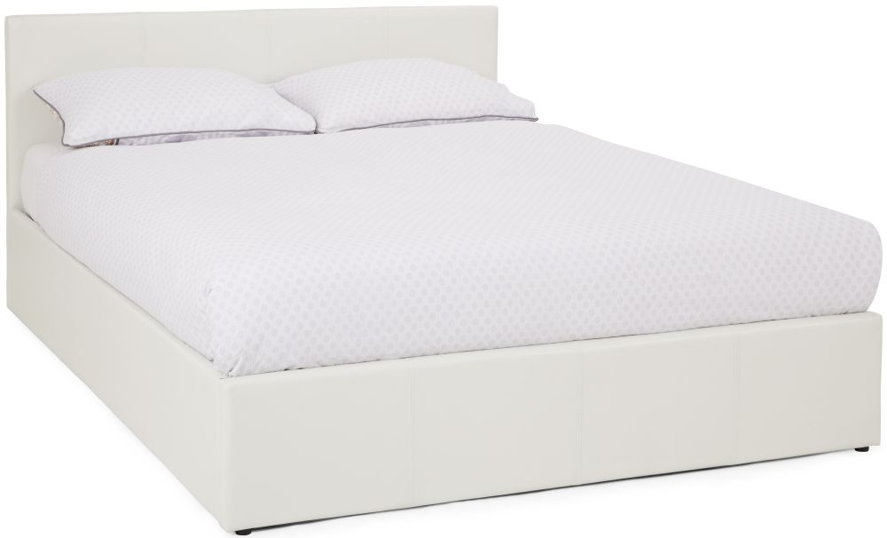 Serene Tivoli White Faux Leather Ottoman Bed