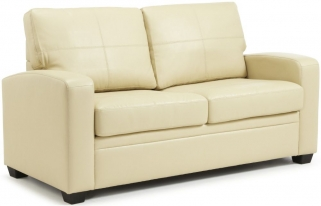 Serene Turin Cream Faux Leather Sofa Bed