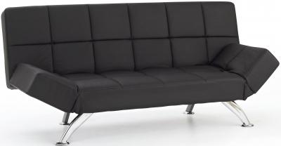 Serene Venice Black Faux Leather Sofa Bed
