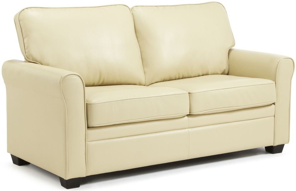 Buy serene naples cream faux leather sofa bed online cfs uk for Sofa bed online