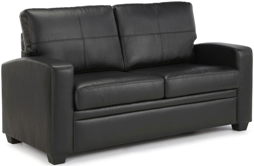 Buy serene turin black faux leather sofa bed online cfs uk for Black leather sectional sofa uk