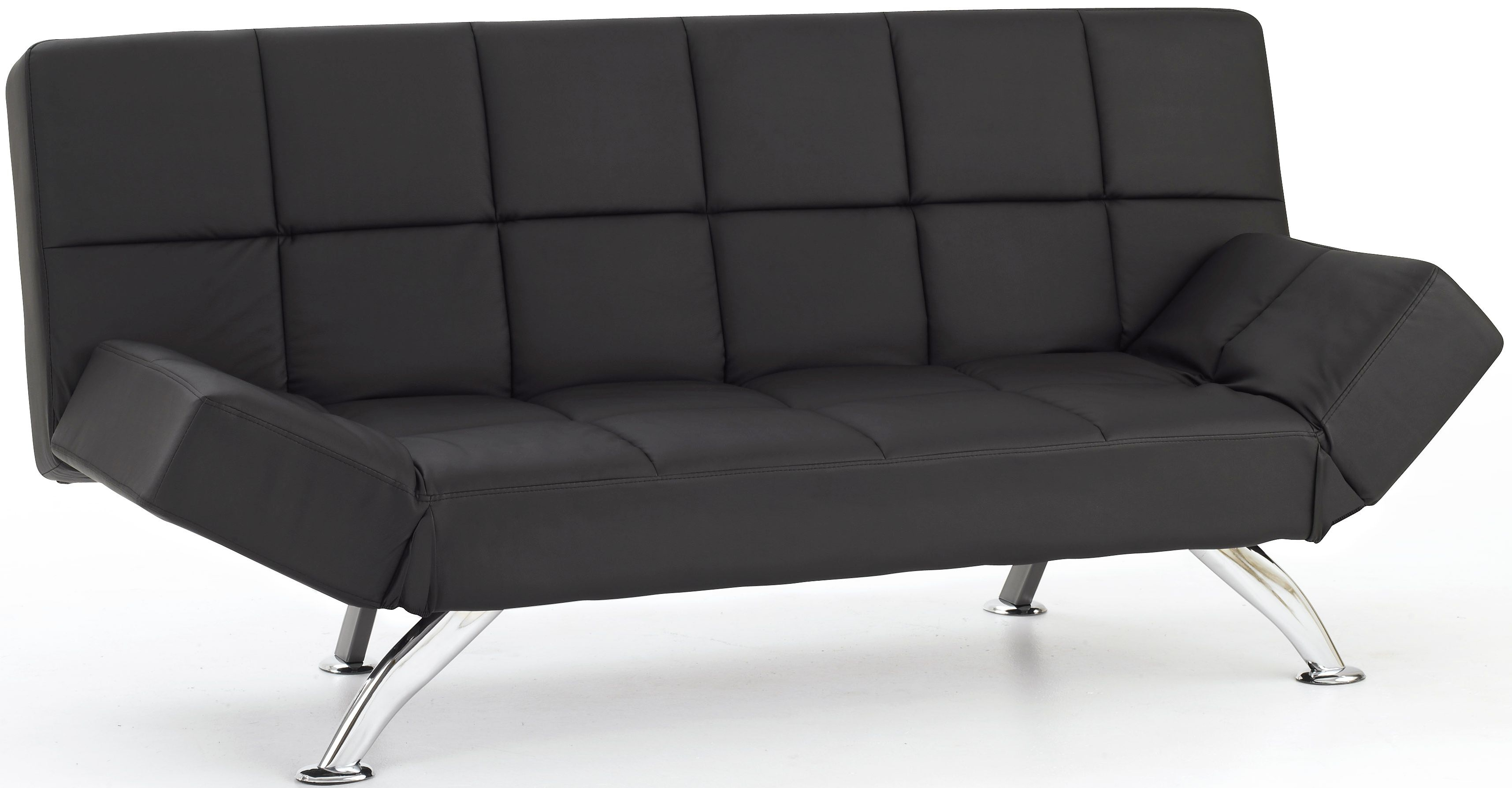 Serene Venice Black Faux Leather Sofa Bed