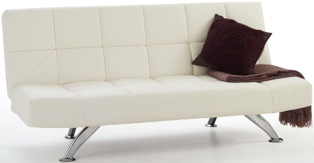 Serene Venice Orchid White Faux Leather Sofa Bed
