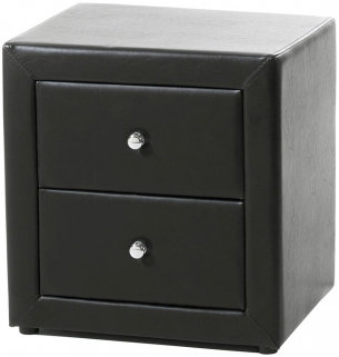 Serene Trieste Brown Faux Leather Bedside Cabinet - 2 Drawer