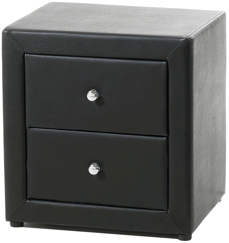 Serene Trieste Black Faux Leather Bedside Cabinet - 2 Drawer