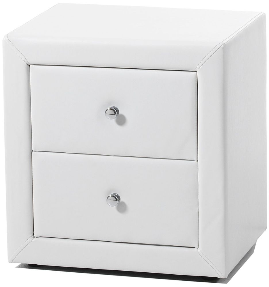 Serene Trieste White Faux Leather Bedside Cabinet - 2 Drawer