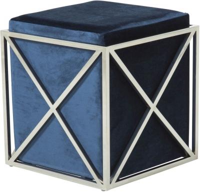 Serene Georgia Contemporary Blue and Silver Fabric Stool