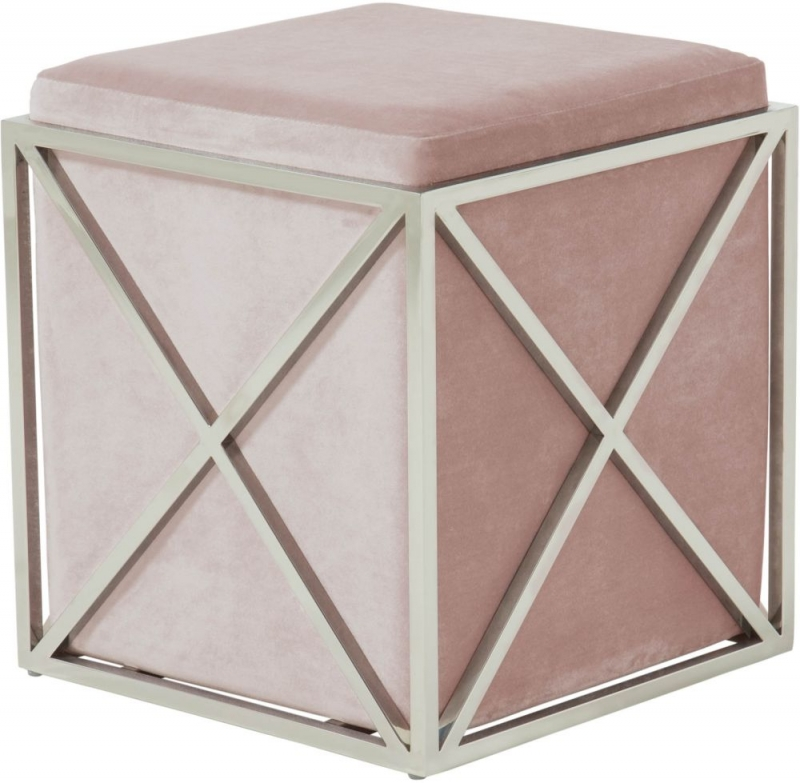 Serene Georgia Contemporary Pink and Silver Fabric Stool