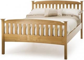Serene Hevea Wood Eleanor Honey Oak Bed - High Foot End