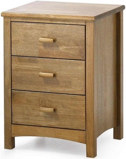 Serene Eleanor Hevea Wood Honey Oak 3 Drawer Bedside Cabinet