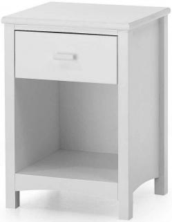 Serene Eleanor Hevea Wood Opal White 1 Drawer Bedside Cabinet