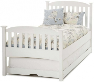Serene Eleanor Hevea Wood Opal White High Foot End Guest Bed