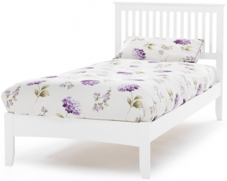 Serene Hevea Wood Freya Opal White Bed - 6ft Queen Size