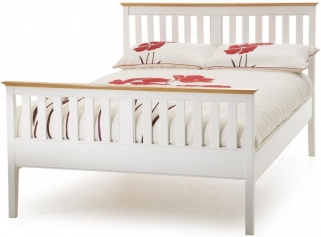 Serene Hevea Wood Grace Opal White Bed - High Foot End