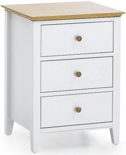 Serene Hevea Wood Grace Opal White Bedside Cabinet - 3 Drawer