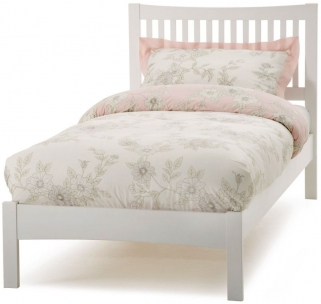 Serene Hevea Wood Mya Opal White Bed - 3ft Single