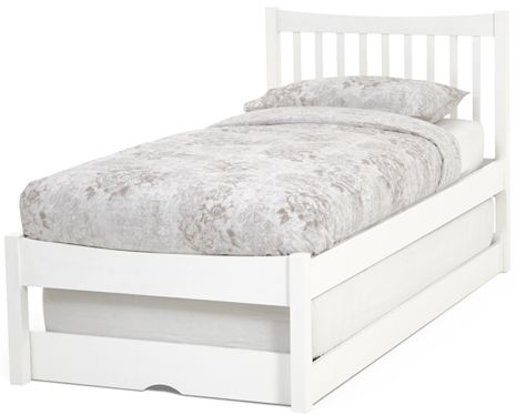 Serene Alice Hevea Wood Opal White Guest Bed