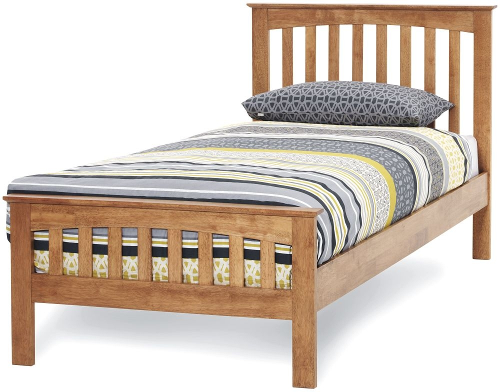 Serene Hevea Wood Amelia Honey Oak Bed - 3ft Single