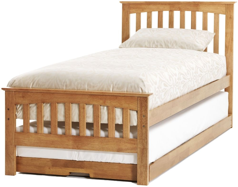 Serene Amelia Hevea Wood Honey Oak Guest Bed