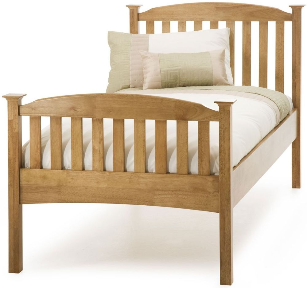Serene Hevea Wood Eleanor Honey Oak Bed - 3ft Single High Foot End