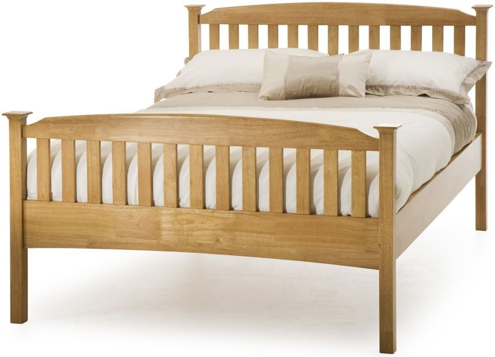 Serene Eleanor Hevea Wood Honey Oak High Foot End Bed